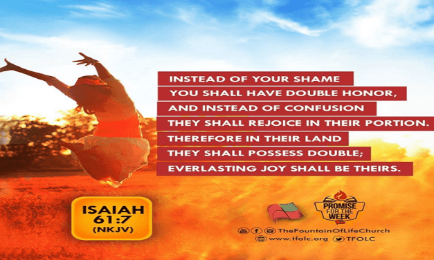 Promise for the Week – Isaiah 61:7