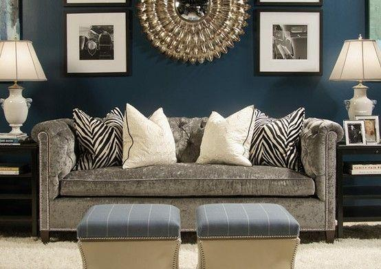 Blue Living Room Paint 5 And Grey Modern Couch Founterior Part 35