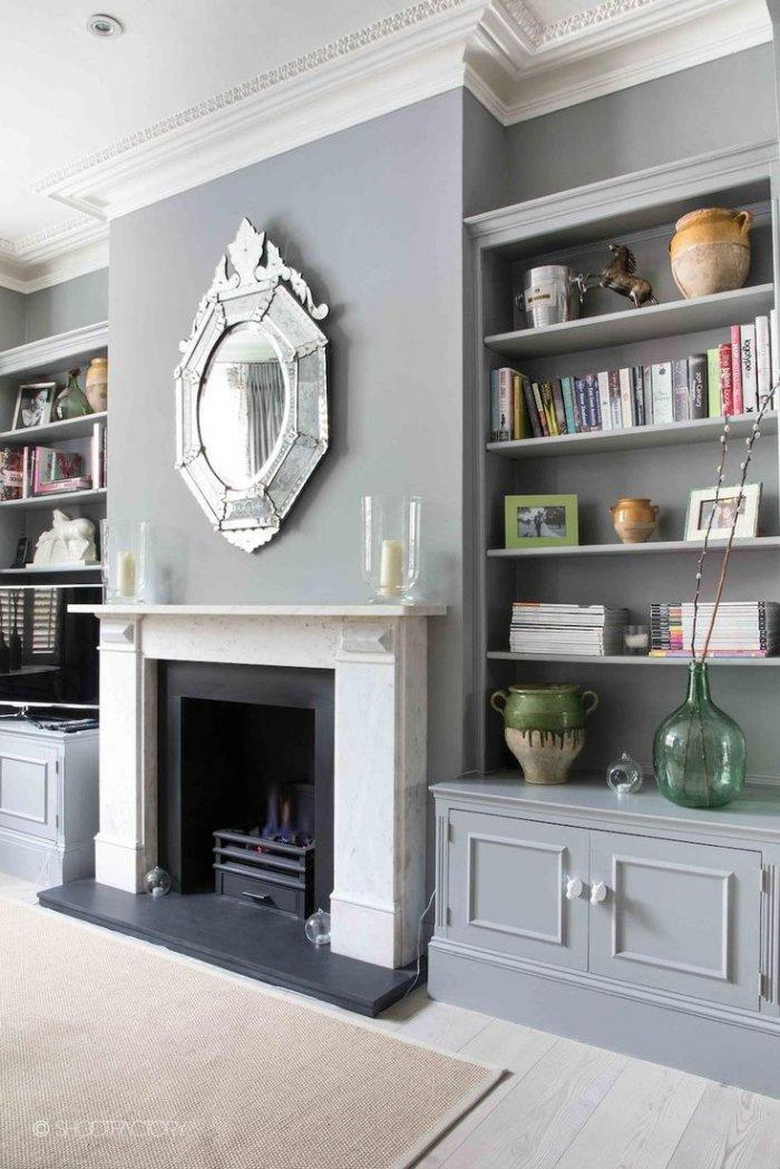 Fireplace Decorating Idea With Mirror 3 And Grey Elegant