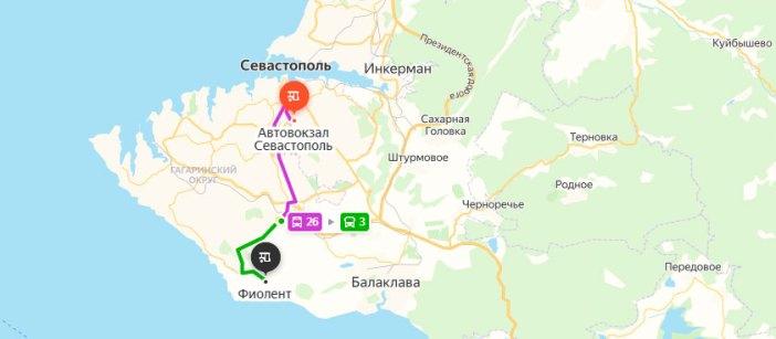 От автовокзала до Фиолента (карта)