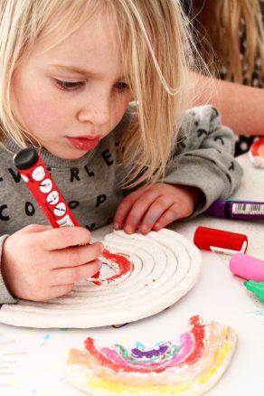Rainbow salt dough craft for kids | cute toddler, preschool or kindergarten art activity that kids will LOVE!