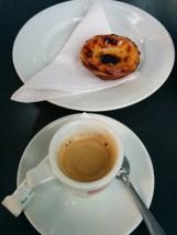 Portuguese pasteis de nata with a carioca espresso