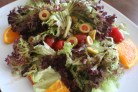Quick salad idea: Green salad, olives, tomatoes, oranges with balsamic dressing