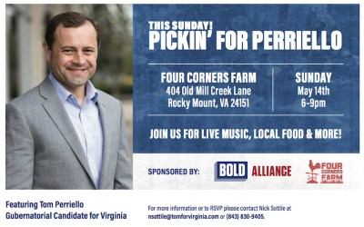 "May 14: ""No Pipeline"" Farm Tour and Pickin' for Perriello Fundraiser"