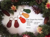 Pear Shaped Vegetable-tanned Leather Key Holder (silver ring), MYR 35 each