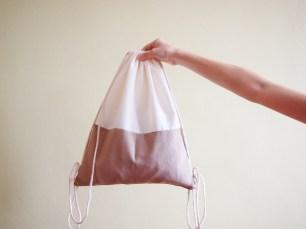 Colour Block Drawstring Backpack - khaki