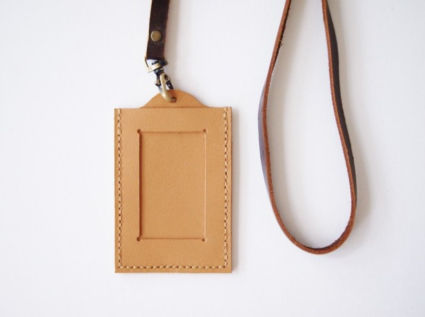 ID Holder with Lanyard - Sandy Brown (front)