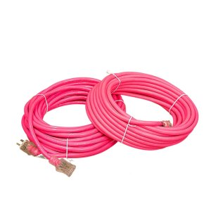 12 Gauge SJTW Hot Pink Extension Cord with Single Lighted End