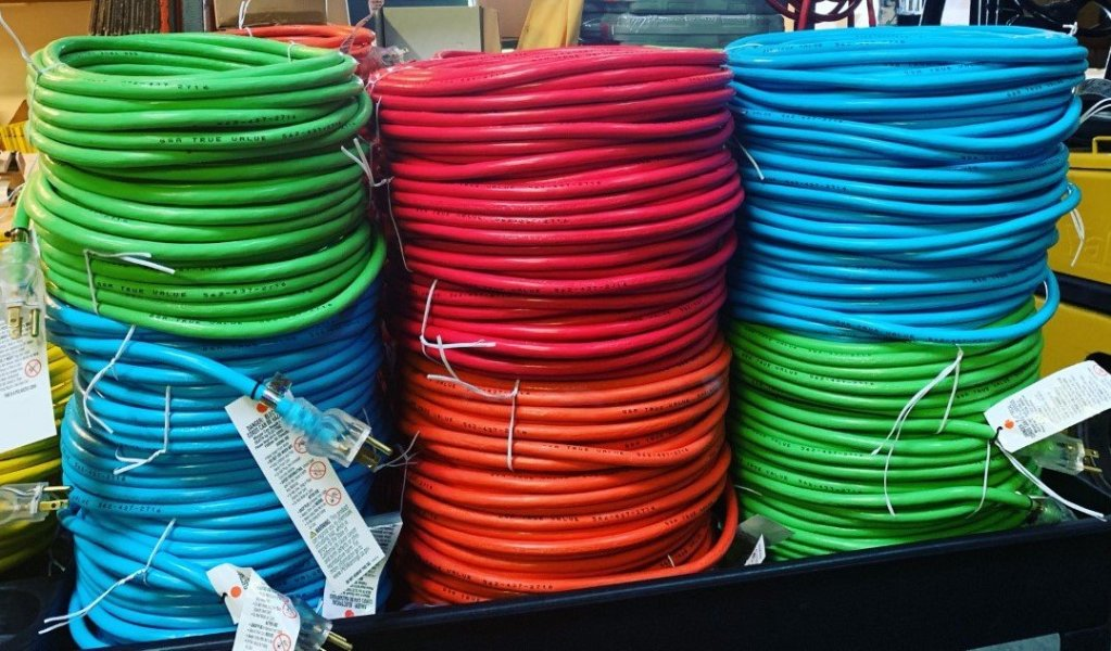 12 gauge Blue, Red, Green & Orange Extension cords