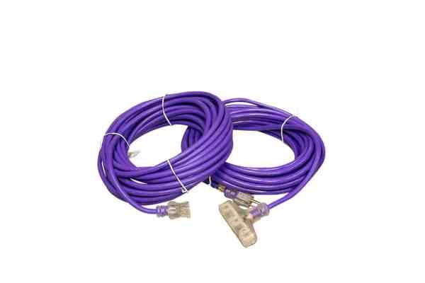 12 GAUGE PURPLE EXTENSION CORD SINGLE AND TRIPLE TAP LIGHTED ENDS