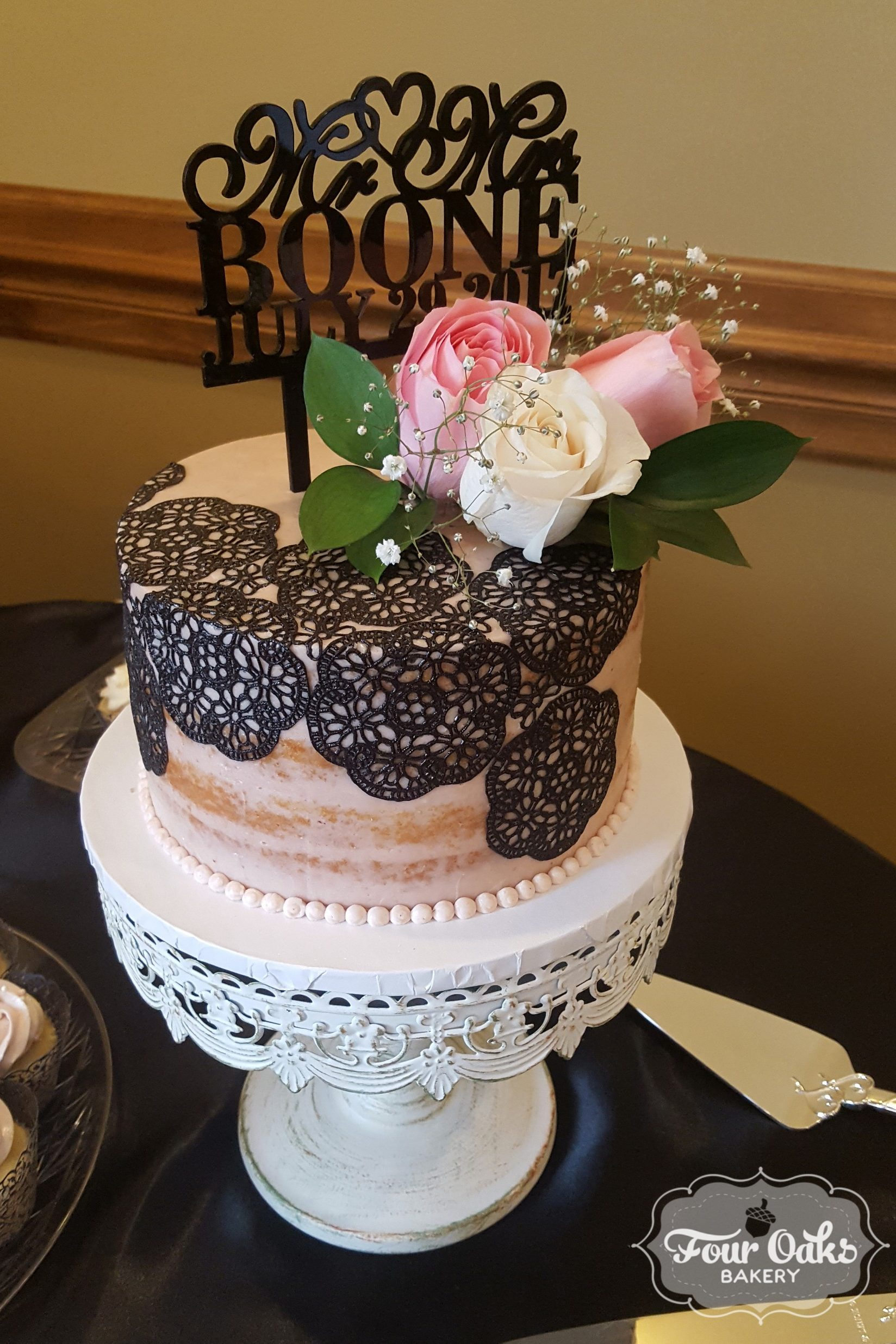 Blush, Black Lace, and Pearl Wedding at Rizzo's in Crabtree, PA