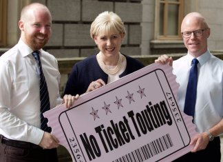 Irish MPs Noel Rock and Stephen Donnelly with Heather Humphreys, Ireland's minister for business, enterprise, and regulation   above-face value ticket sales