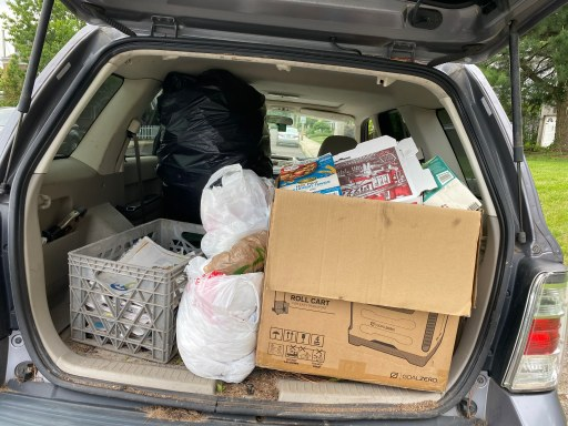 Home recyclables, paper, cardboard, plastic