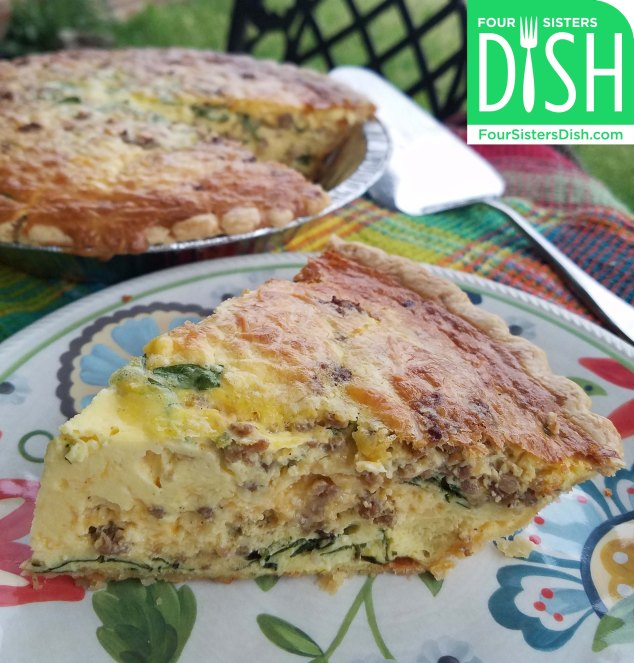 Cream Cheese Quiche with Sausage, Cheese, & Spinach