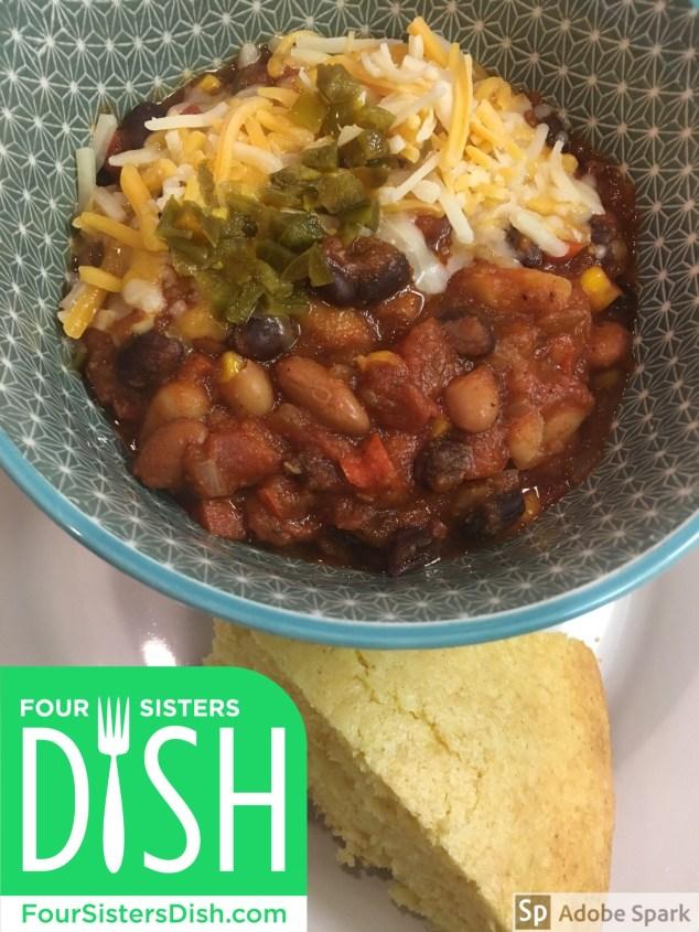 Crock Pot Three Bean Vegetarian Chili