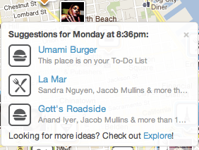 Foursquare suggestions