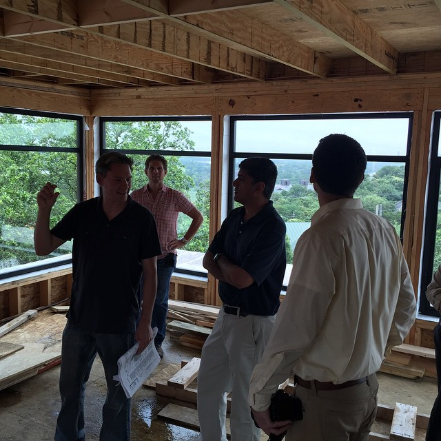 "Chris Davenport and Cornerstone Architect site visit at our Rollingwood 4 story home. And we are within 2 1/2"" of Max height limit."
