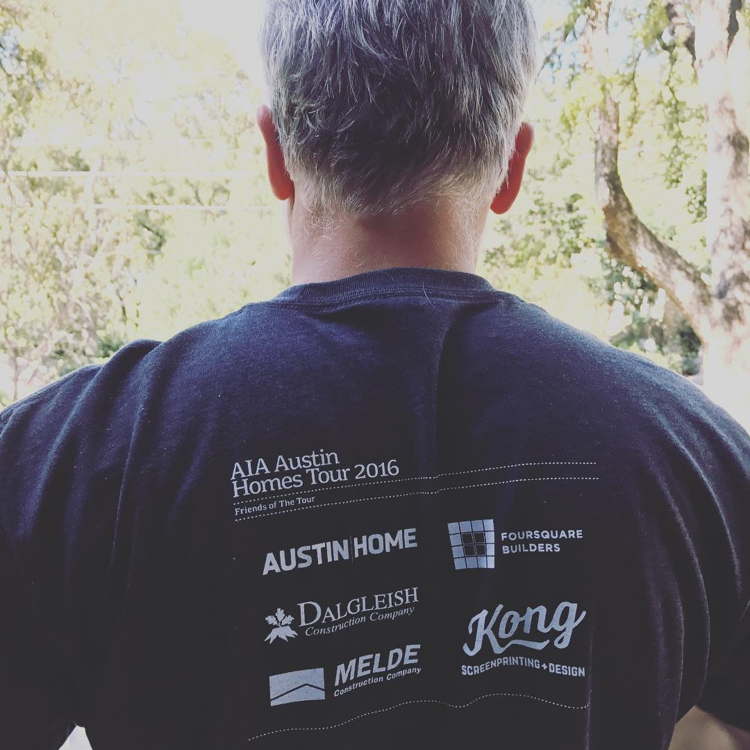 Yes, for those in the know, that's Mel Lawrence sporting his 2016 @aiaaustin homes tour T-Shirt sponsored by @foursquarebuilders