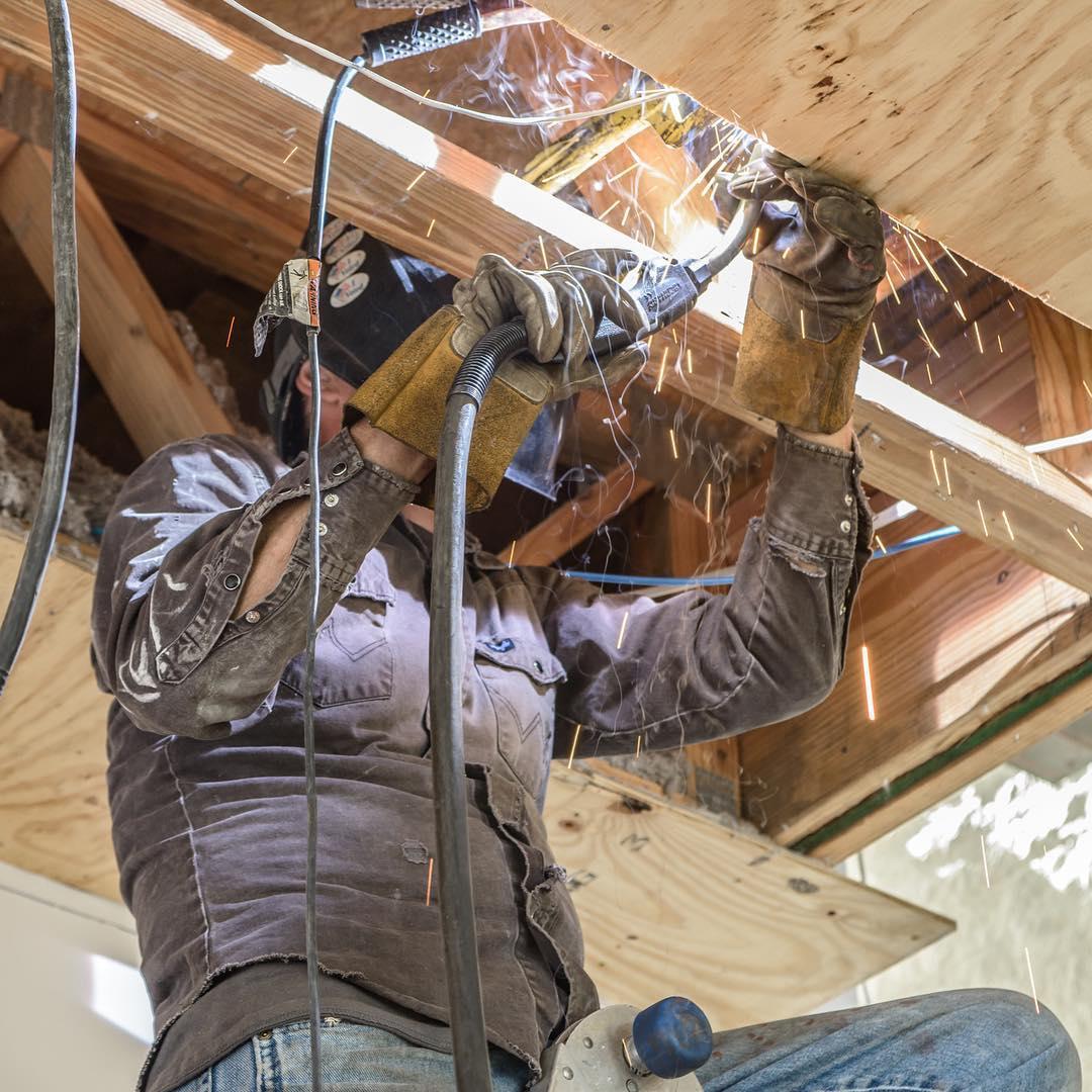 Interesting combination; welding & wood. Built by @foursquarebuilders Photo by @redpantsstudio