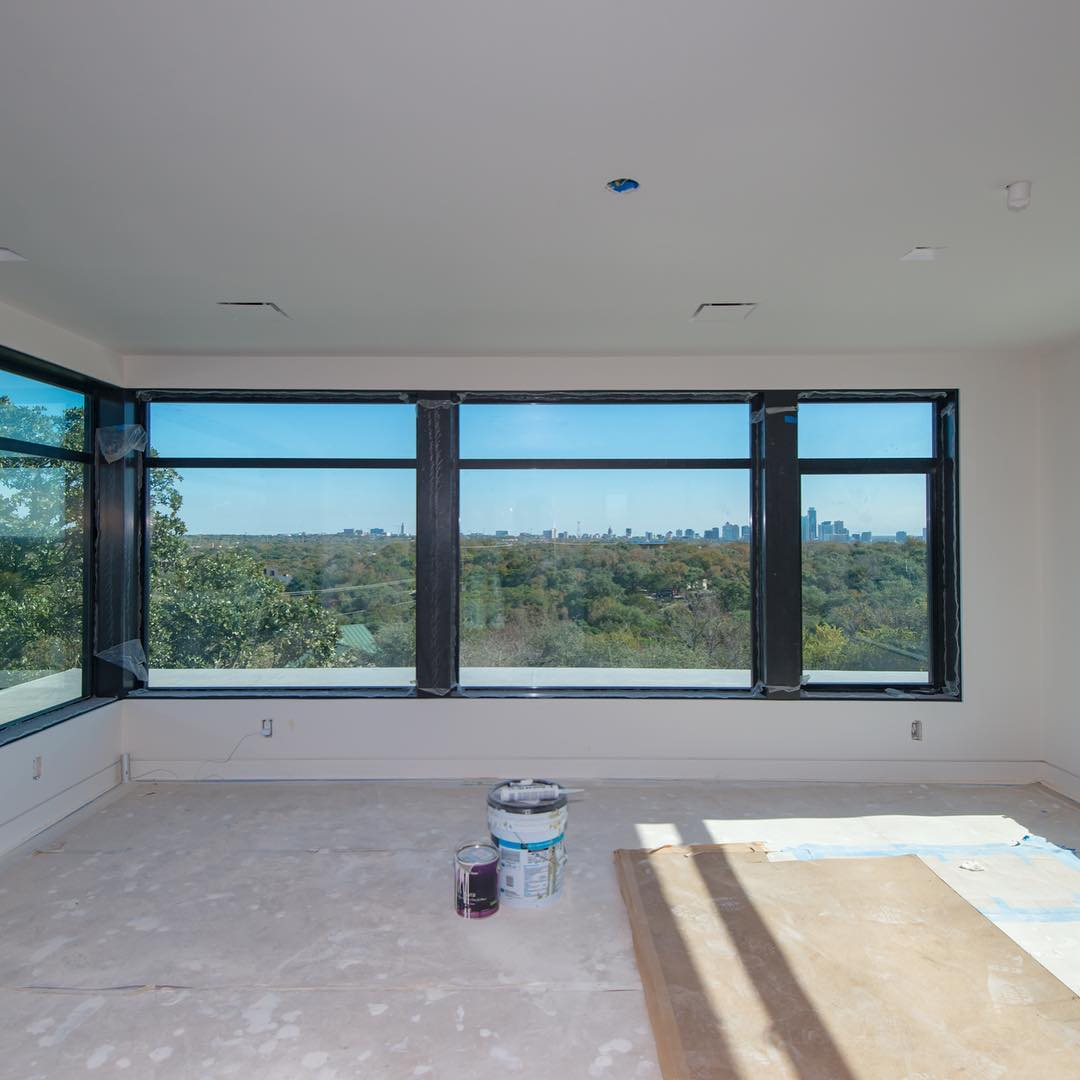 Home office with a view!! Built by @foursquarebuilders Designed by Photo by @redpantsstudio