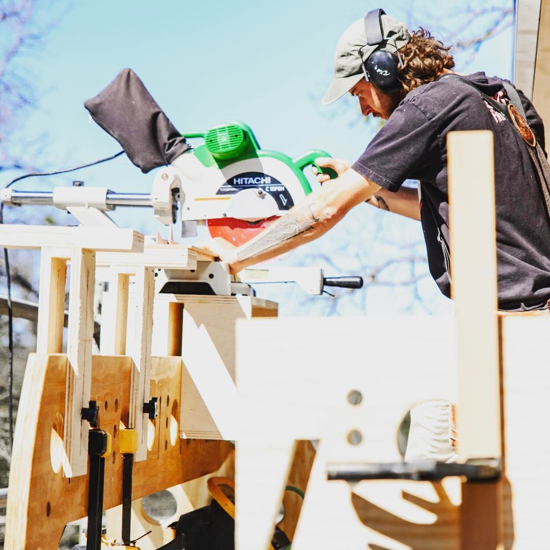 Even at 20 feet in the air our craftsmen utilized custom built crosscut saw tables. Precision counts!! Built by @foursquarebuilders Photo by @redpantsstudio