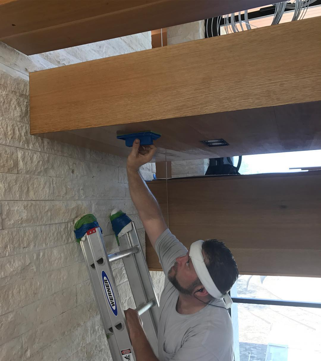 And now to hand finish the underside of the floating white oak stair treads. Built by @foursquarebuilders