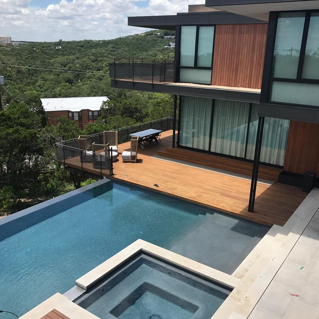 Pool side in Austin, Tx. Built by @foursquarebuilders Designed by @aparallel pool by @designecology