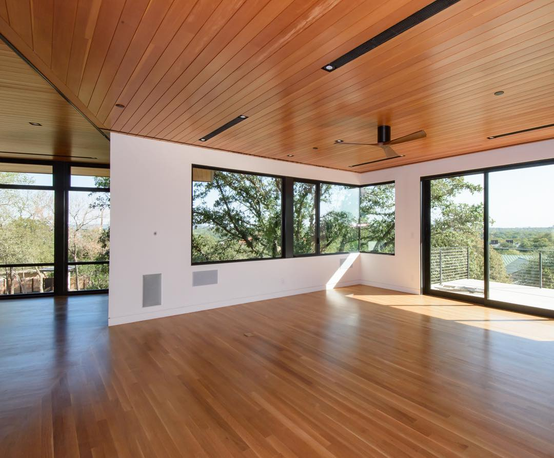 Doug Fir and White Oak make up the ceiling and flooring in our Brett Cove Home. Windows and Doors by @fleetwood_windows_doors Built by @foursquarebuilders Photo by @redpantsstudio