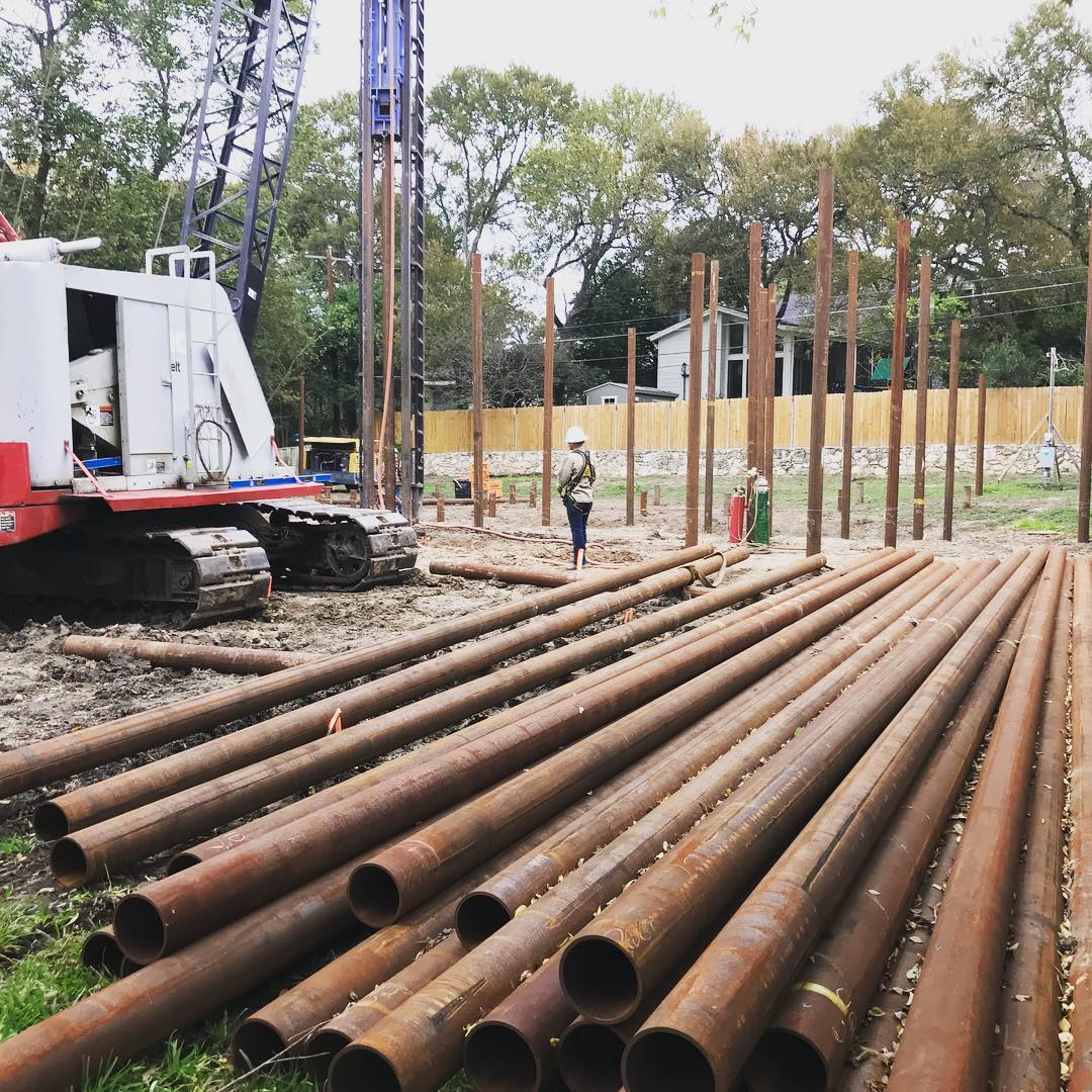 Piling pipe in W. Austin for our new build. Built by @foursquarebuilders