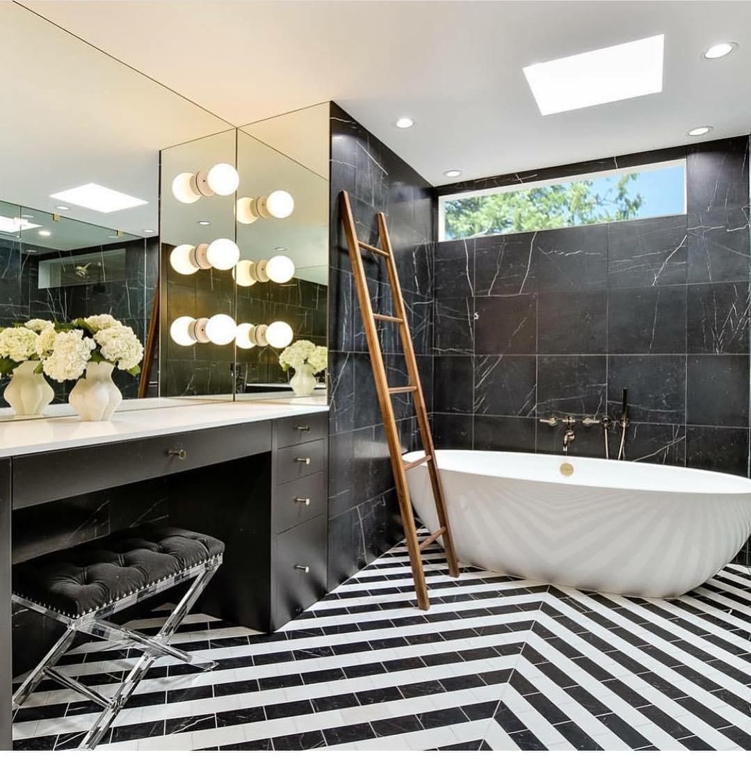 Fun bathroom remodel with the team of @mf.architecture and @joelmozerskydesign Built by @foursquarebuilders