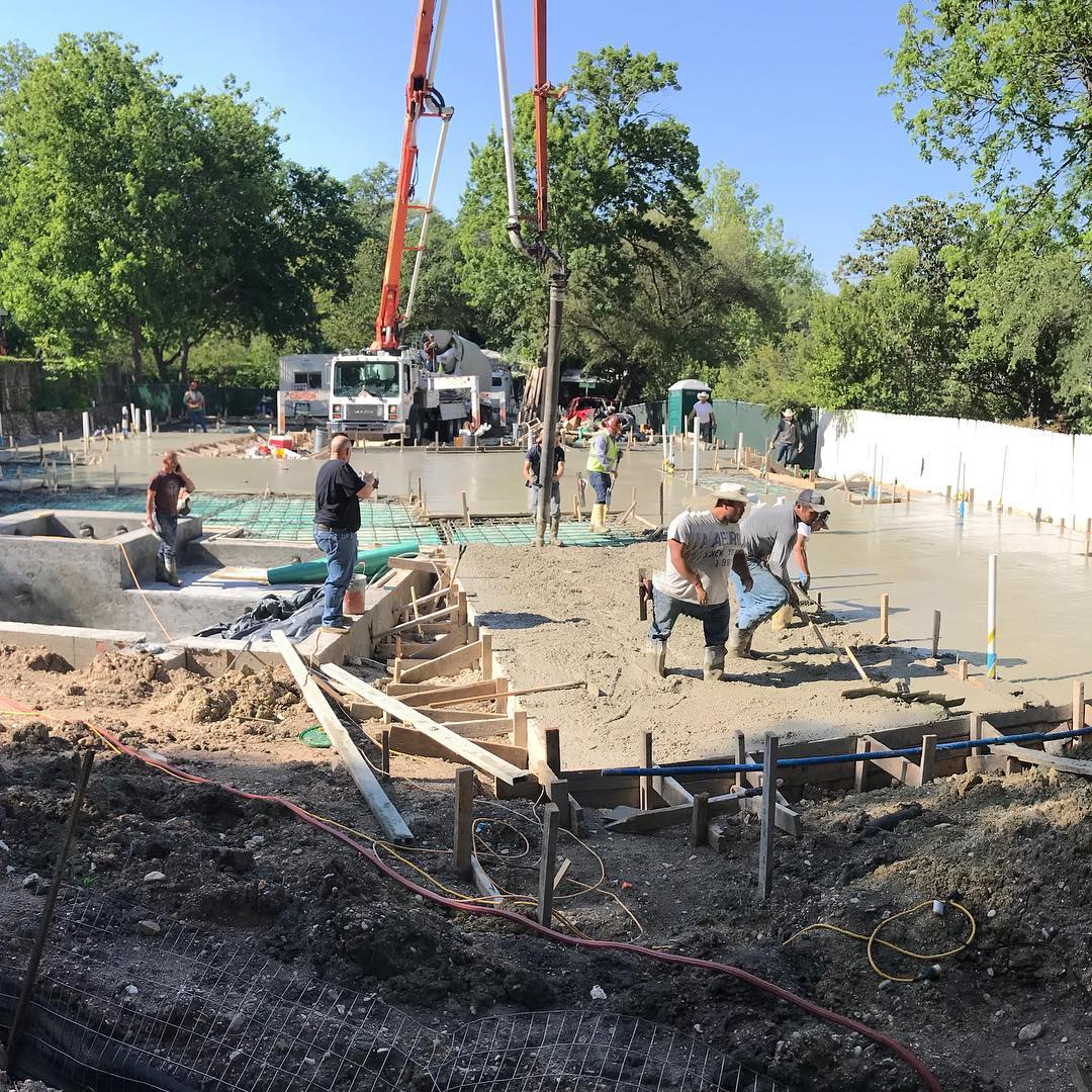 It's always a great day when you're pouring concrete! Designed by @lankerani_architecture Built by @foursquarebuilders RedPants on location today too!