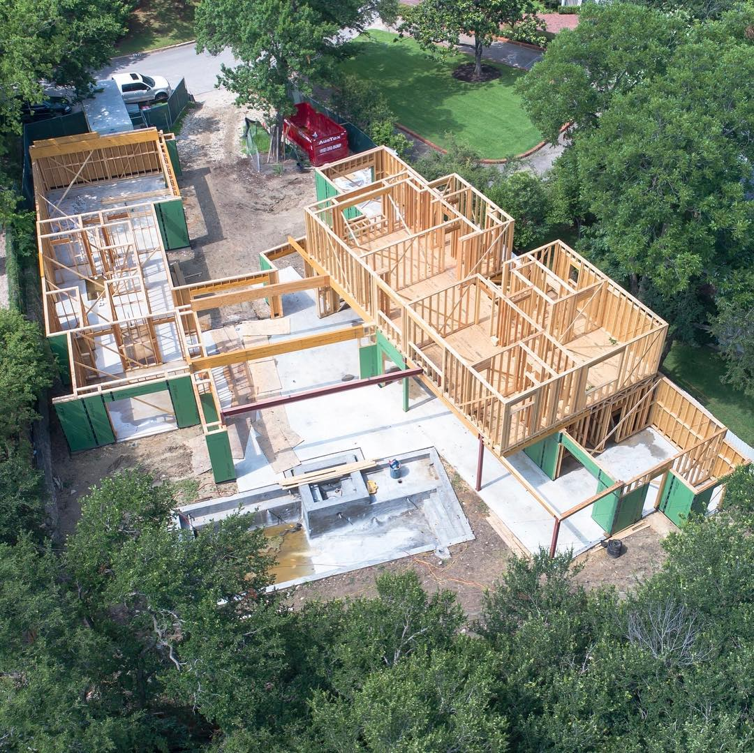 Tarrytown build taking shape. Thanks to @redpantsstudio for the great drone footage! Design by @lankerani_architecture Built by @foursquarebuilders Interiors by @lovecounty