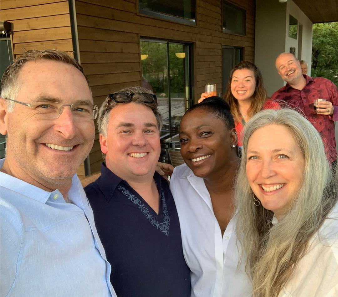 Selfie time on the front porch with our designer Eric Brown and our clients Pat and Michael.