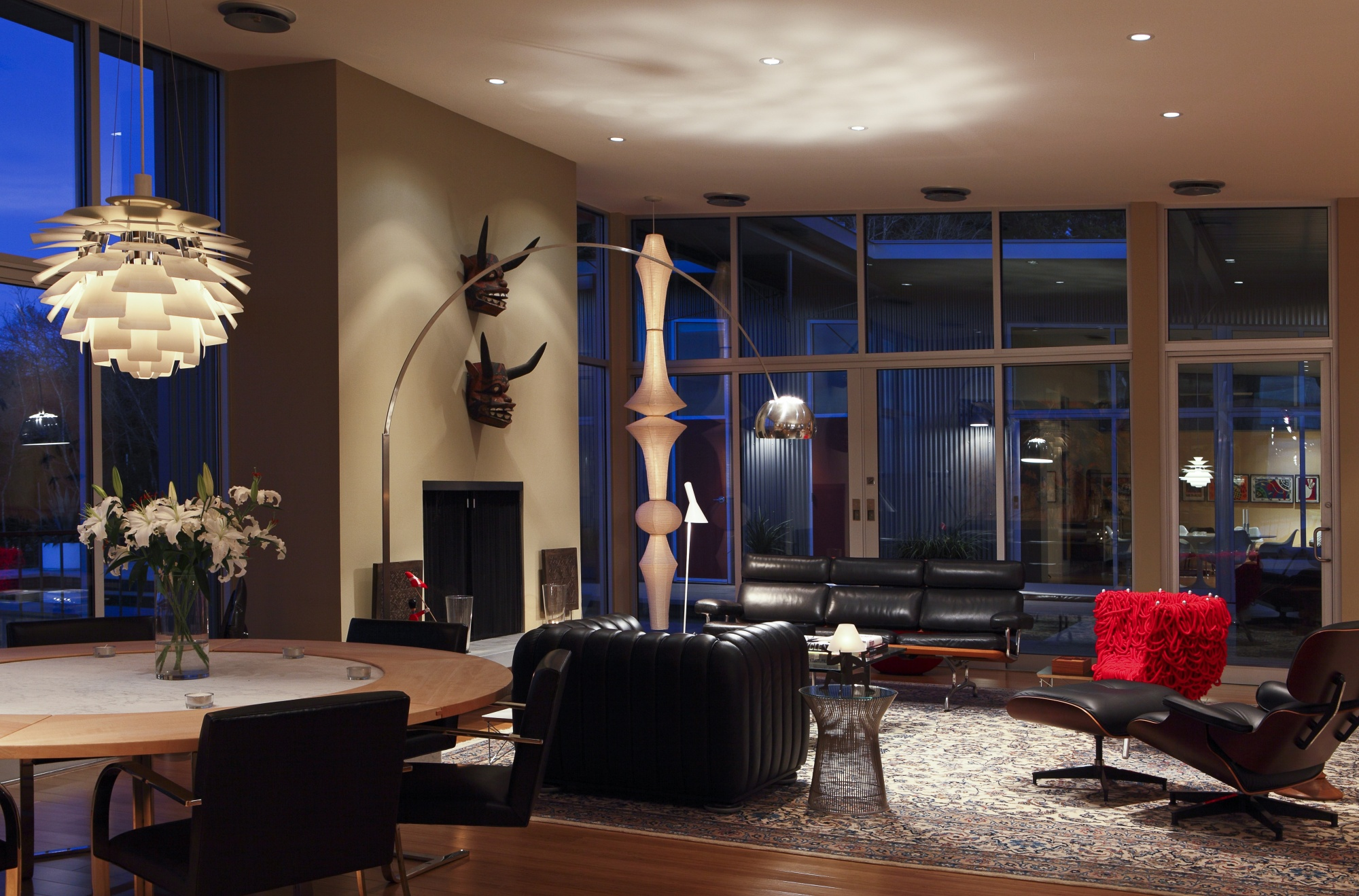 Low voltage lighting creates a warmth at night for lounging.