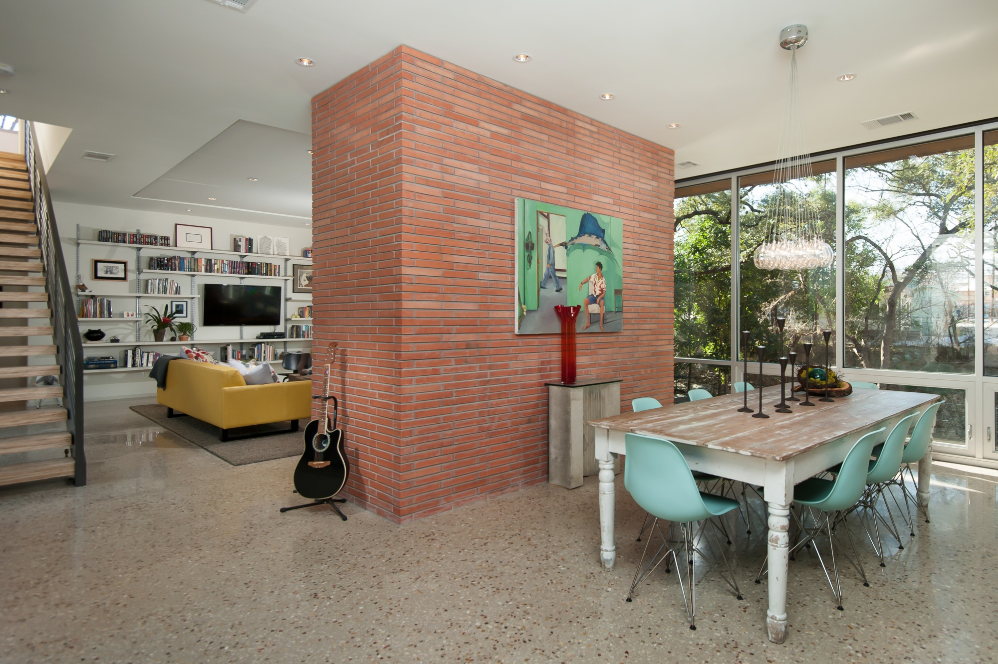 Ground and polished concrete flooring throughout this modern home.