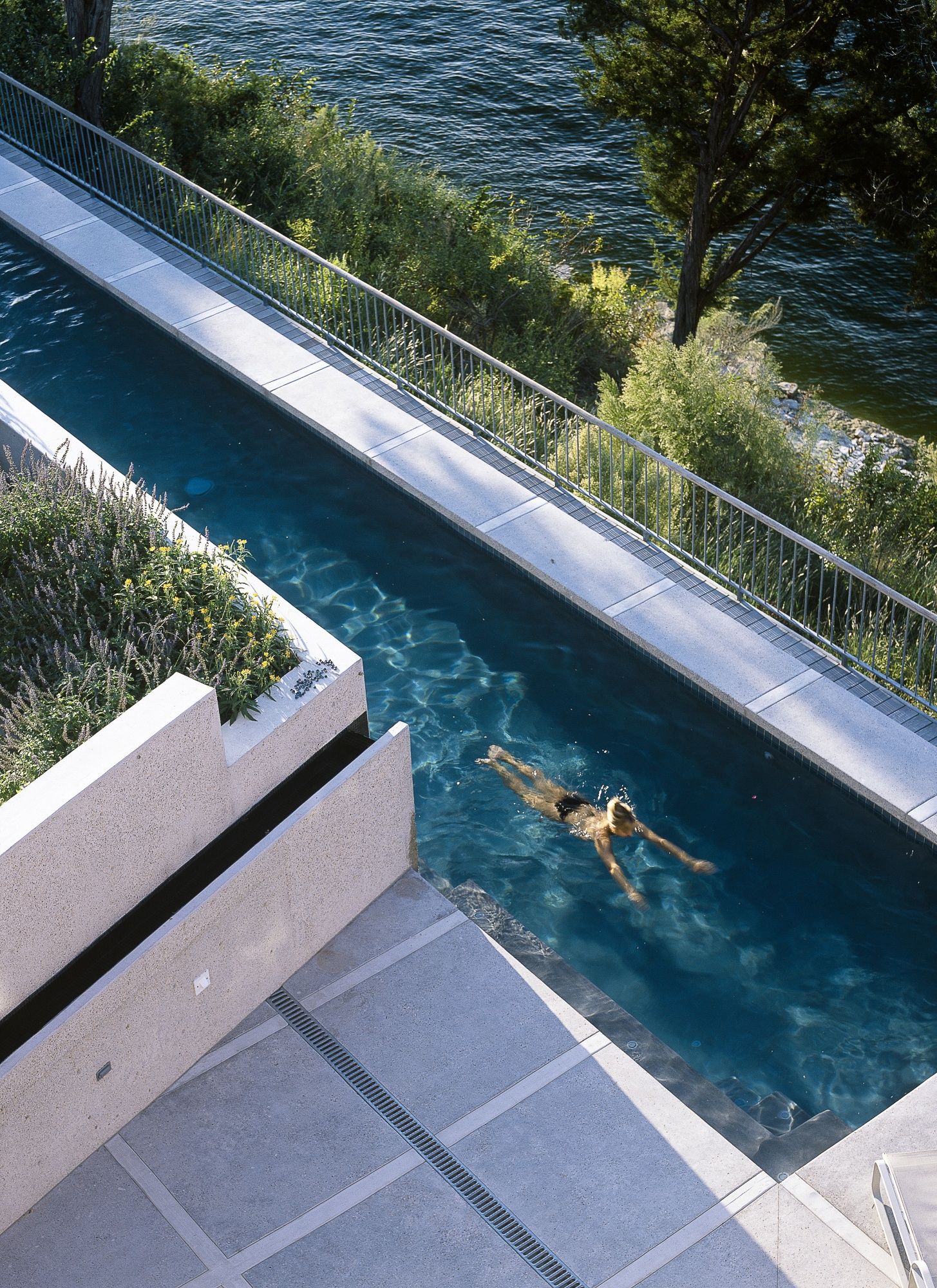 Polished concrete patio and coping frame this lap pool.