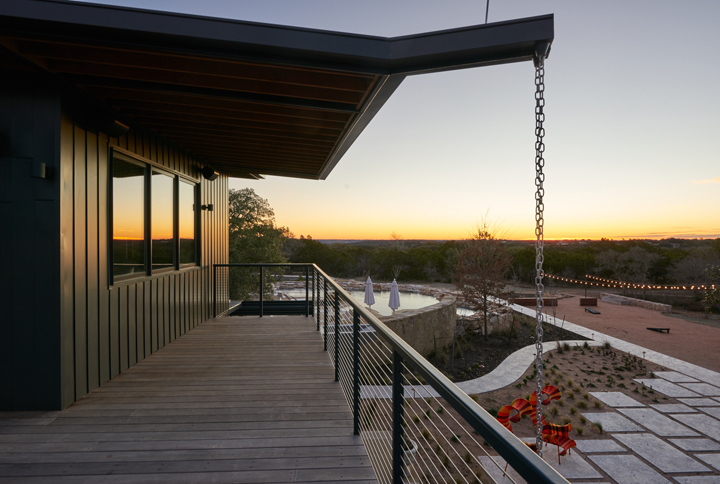 Hill country views from the treehouse overlooking the resort sized pool.