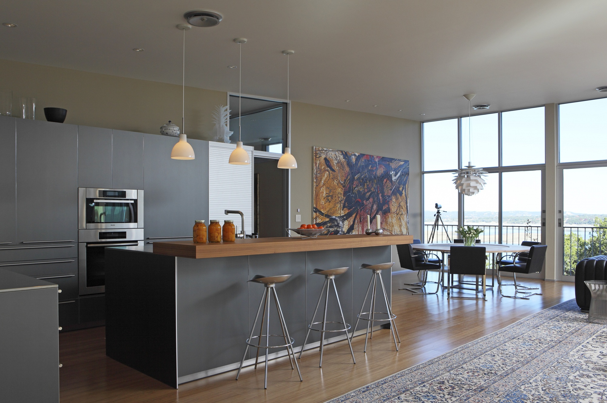 European kitchen provides efficiency to this space.