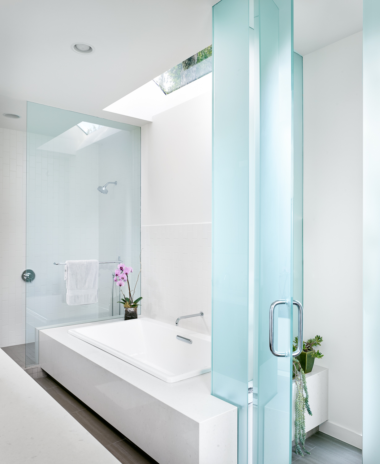 Master bath provides openness yet privacy.