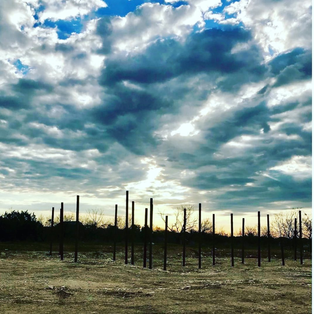 Sunrise over steel trees! Looks like art but it's actually steel pilings for our San Antonio build. Designed by @grahamarchitecture