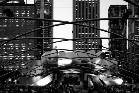 The Jay Pritzker Pavilion in the late summer.