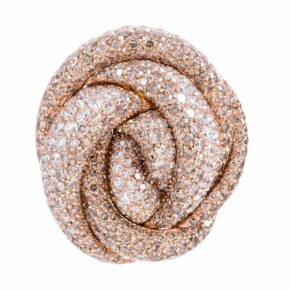 Italian Rose Gold Diamond Knot Ring Signed Palmiero Fourtane
