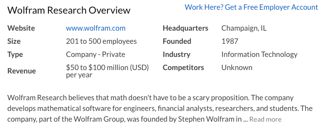 Wolfram Research on Glassdoor