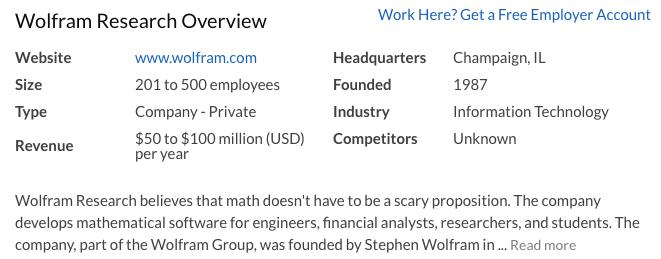 Wolfram Research on Glassdoor