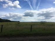 veld met prikkeldraad hek en blauwe lucht met wolken