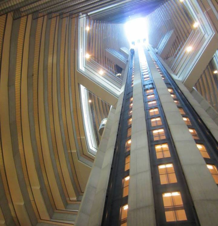 View of the elevators from one of the hotel atriums.