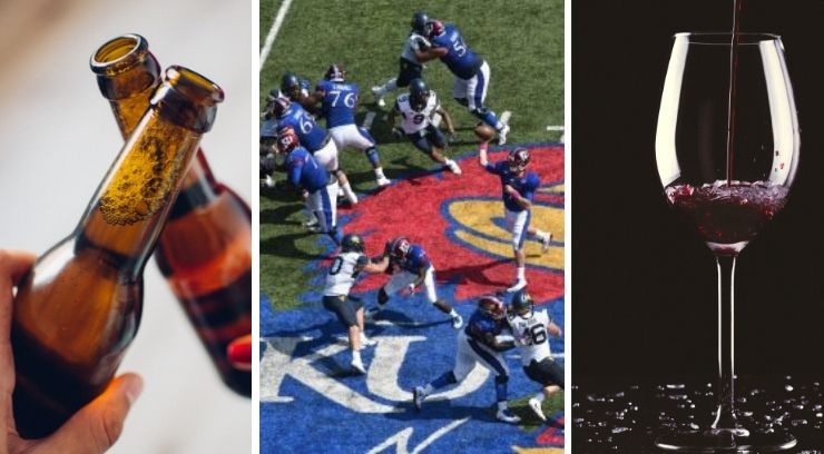 Images of beer, wine and KU football
