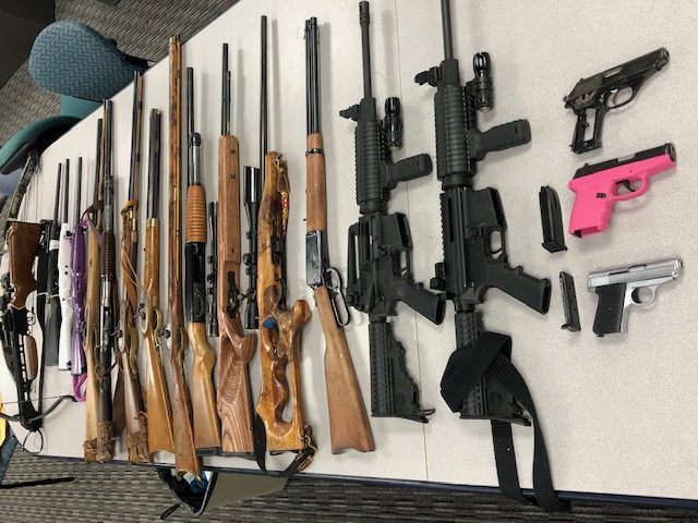 Picture of stolen guns, crossbows
