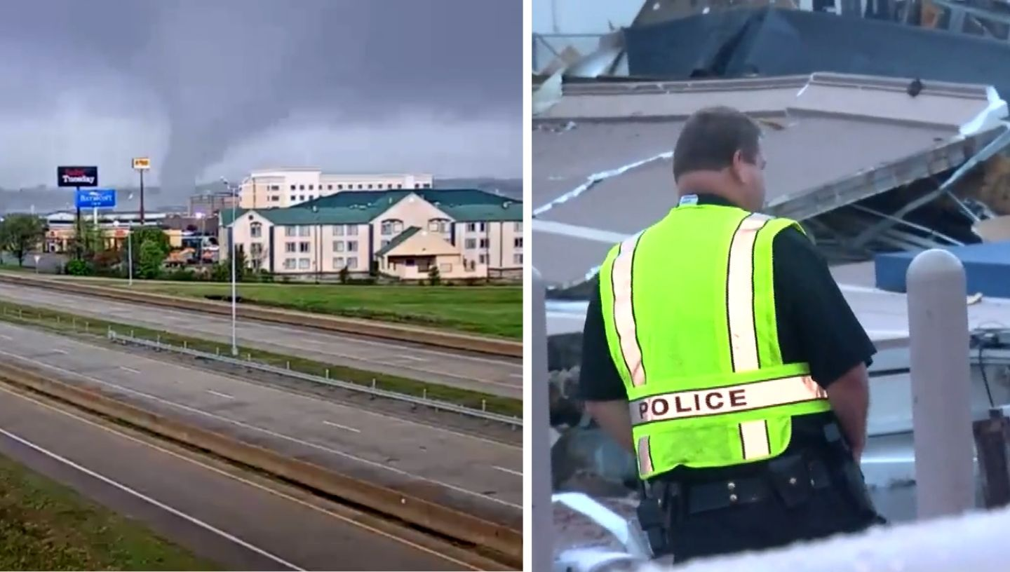 Picture of tornado and police officer looking at wreckage