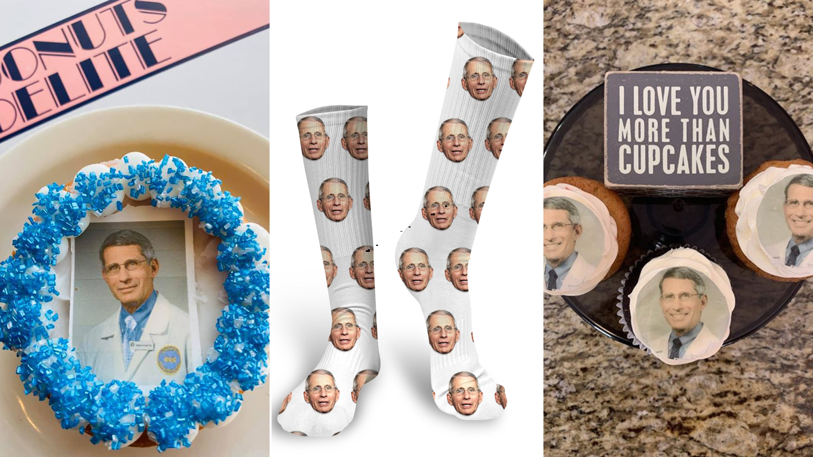 Picture of Dr. Fauci donuts, socks and cupcakes